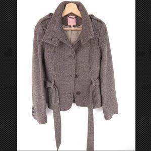 Ted Baker pea coat wool blend brown beige jacket